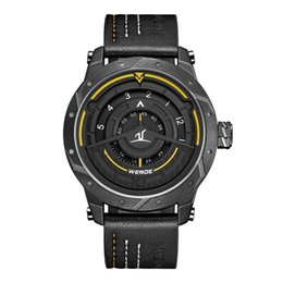 Discount blue pointers - WEIDE Luxury Analog Display Men Sport Watch Leather Bracelet Strap Quartz Black Watch Waterproof No Pointer Dial Quart W