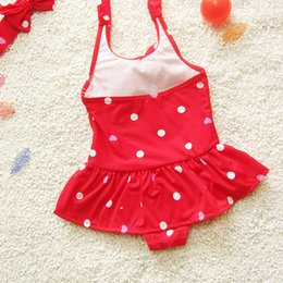 pool clothing UK - Baby Girl Swimsuit Children Cute Baby Swimwear Girls Infant Bathing Suit Swimming Pool Clothing One Piece Blue Red S M L XL