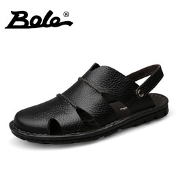 Men's Sandals Shoes Brand New High Quality Men Genuine Leather Sandals Breathable Comfortable Cozy Summer Shoes Fashion Flat Hoop Loop Sandals 3358