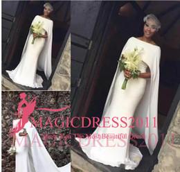 $enCountryForm.capitalKeyWord NZ - Latest Satin Mermaid Wedding Dresses for Black Girl With Cape Zipper Back Arabic Bridal Dress Wedding Gowns African Kaftan