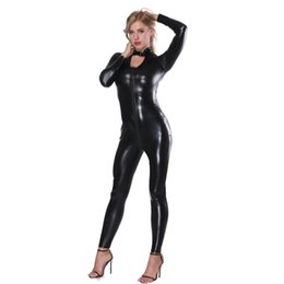 Discount sexy motorcycle jacket - Women Black Double Zipper Faux Leather Bodysuit Slim Jumpsuit Turtleneck Jacket Body Sexy Motorcycle Uniform Catsuit Clu
