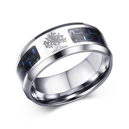Mens Wholesale Cluster Rings NZ - 8mm Mens Carbon Fiber Ring Engraved Tree Of Life Stainless Steel Rings For Men Male Alliance Casual Jewelry US Size 7# -12#