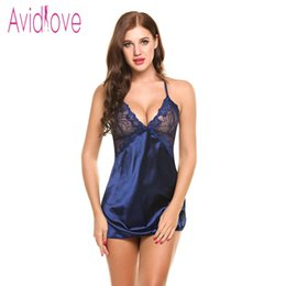 Barato Lenços De Seda Sexy-Atacado-Avidlove Sexy Nightgown Lingerie Moda Patchwork Nightdress Mulheres Sheer Scalloped Satin Nightwear Silk Slip Sleepwear Chemises