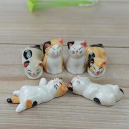$enCountryForm.capitalKeyWord NZ - 6pcs set Lucky Cat Ceramic Chopsticks Rack Frame Cartoon Chopsticks Holder Rest Flatware Home Tableware Set ZA5897
