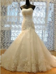 $enCountryForm.capitalKeyWord Australia - Ruched Flowers Beading Sweetheart-Neck Lace-Up Back Mermaid Lace Wedding Dresses