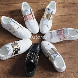 Discount pink shoes studs - With Box Cheap 7 Colors TOP Luxury Brand Designer Shoe Untitled Studs Open Sneaker Luxury Shoe Fashion Men And Women Cas