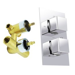 square thermostatic shower mixer UK - Quality Products Square Handle Brass Thermostatic Shower Faucet Mixer Valve W  Anti Scald Feature 2 Knobs