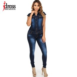 Overalls Jumpsuits For Women Canada - IDress S-XL Big Size Fashion Denim Women Long Pants Jumpsuit Short Sleeve Sexy Rompers Women Jumpsuit Jeans Overalls for