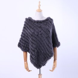 China Free shipping spring autumn Genuine Real Knitted Rabbit Fur Poncho Wrap scarves women natural rabbit fur Shawl triangle Cape cheap fur women wrap suppliers