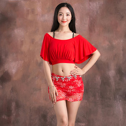Discount women exotic costumes - Belly Dance Costume Set Modal Gypsy Top Lace Skirt Indian Clothes For Women Samba Bellydance Performance Exotic Dancewea