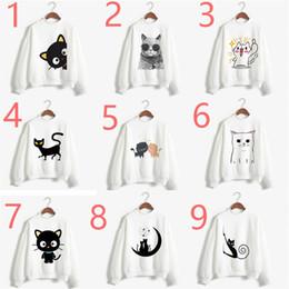 cute print sweaters 2019 - Cute Cat 14 Styles Female Sleeve Tops Cat digital print plus velvet round neck long sleeve sweater Female Tops Long Slee