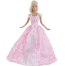 Discount handmade dolls kids - Handmade Pink Dress Evening Party Gown Long Lace Skirt Princess Bride Clothes For Doll Accessories Kid Baby Girl Gift To
