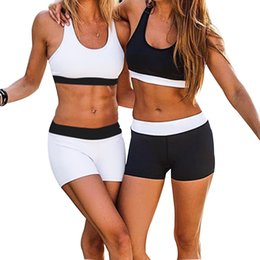 $enCountryForm.capitalKeyWord NZ - Women Yoga Sports Set High Elastic Bra+Shorts Set Solid Fitness Gym Wear Sportswear Exercise Jogging Workout Jogging Suit