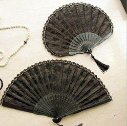 $enCountryForm.capitalKeyWord Canada - 50pcs Spanish Victorian Vintage Hand Fan for Wedding Party Favor Fancy Dress Black Japanese Folding Pocket Fan Dancing Props free shipping