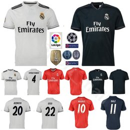 China 2018 2019 Soccer Real Madrid La Liga 4 SERGIO RAMOS Jersey Men 10 MODRIC 11 BALE 20 ASENSIO 22 ISCO Football Shirt Kits cheap jersey soccer real suppliers