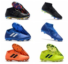 2b9172e9fc2e 2018 original soccer cleats Nemeziz 18+ FG mens soccer shoes cheap leather football  boots high ankle outdoor scarpe da calcio Hot