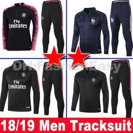 France PSG Paris saint germain  Tailândia qualidade 2018 2019 psg ternos de treinamento de futebol nacional 2 duas estrelas equipe Uniformes fatos de treino de futebol Survetement manga longa