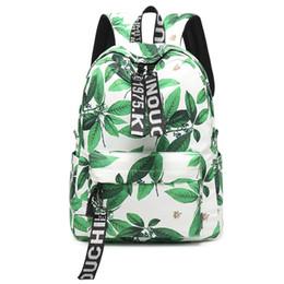 $enCountryForm.capitalKeyWord Canada - Fresh Style Women Backpacks Leaves Print Bookbags Nylon School Bag For Girls Rucksack Female Travel Backpack 15in Laptops