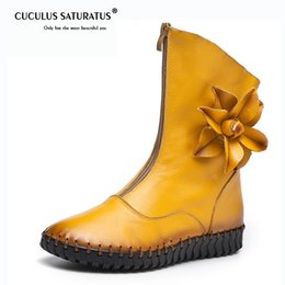 open toed booties women 2019 - Cuculus 2018 Autumn Mid Calf Boots Flat Women Genuine Leather Zip Vintage High Booties Riding Ladies Flower Sewing Shoes