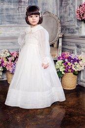 organza lace fabric wedding dress 2019 - New Arrival High Quality Turn-Down Collar Girl Dresses Long Sleeve Organza Fabric With Thin Coats Floor Length Wedding F