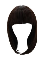 Discount natural hair hairpieces - Brown Wig Fei-Show Synthetic Heat Resistant Women Hair Costume Cos-play Carnival Salon Party Short Wavy Student Bob Hair