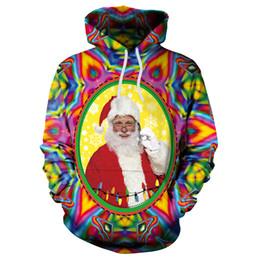 Large Size Bearings UK - Autumn&Winter EU&US New Christmas digital printing loose hooded Sweatshirt large size New Year Santa Claus Party Supplies Elk Bear Xmas Tree