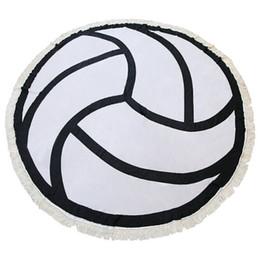 $enCountryForm.capitalKeyWord UK - Factory Sale Volleyball Football Mermaid Large Round Microfiber Beach Towel Circle Tassels Watermelon Hamburger Cotton Bath