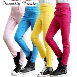 high waist multi color leggings NZ - 4-13Y Teenager Fashion High Waist Candy Color Skinny Children Pants Pencil Casual Long Girls Pants Girls leggings KL-1519