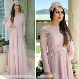 Discount blush mother dress - Elegant Blush Pink Chiffon Long Sleeves Mother of the Bride Dresses Crew Appliqued A-Line Muslim Women Formal Evening Dr