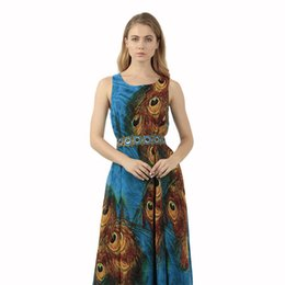 8b10af05a3 Plus Size S-3XL Women Summer Maxi Peacock Printing Cocktail Casual Beach  Dress