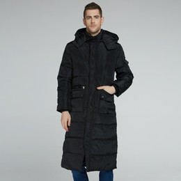 snow jackets 2019 - Men Down Jacket Winter Extra Long Coat Down Parkas Hooded Thicken Warm Outwear Overcoat Snow Tops Big Size S-4XL 2018 Ar
