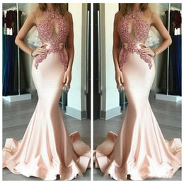 $enCountryForm.capitalKeyWord NZ - 2018 Sheer O-Neck Slim Lace Appliques Custom Prom Dresses Backless Vestidos De Soiree Formal Evening Party Gowns For Ladies Cheap