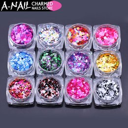 Discount color glitter tips - 12jars set Nail Glitter Sequins mixed color ROUND Shapes Ultrathin Confetti Acrylic Tips UV Gel polishing for nails deco