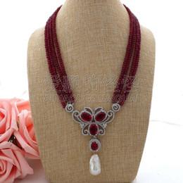 Necklaces Pendants Australia - N062306 19'' 4 Strands Red Necklace White Keshi Pearl CZ Pave Pendant