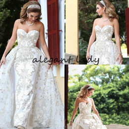 princess wedding dresses detachable skirt Canada - Sweetheart Mermaid Wedding Dresses with Detachable Train 2018 Luxury Lace Beaded Dubai Arabic Middle East Princess Castle Wedding Gown