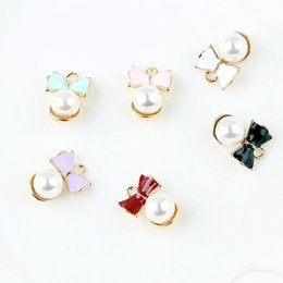 $enCountryForm.capitalKeyWord Australia - 200Pcs lot Pearl Bowknot Charms Pendants Diy Jewelry Accessories In Gold Metal Craft Supplies Enamel Finding