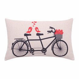 love lumbar pillow NZ - wholesale Floral Bicycle Lumbar Pillow Cover Love Birds Cushion Cover Flower Basket Decorative Pillow Case for Sofa Valentines Day Gift