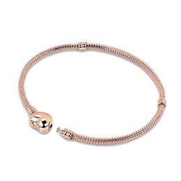 $enCountryForm.capitalKeyWord UK - 2018 new free shipping 1pc rose gold snake chain bracelet with heart clip Fits European Charm bracelet CL010