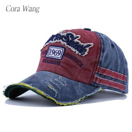 Discount wholesale letter hat patches - Cora Wang 1969 baseball cap Fashion Cotton Casual Baseball Cap Boy Girl Classic 5 panel Letter Patch Sun Hat fitted hats