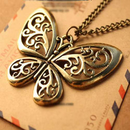Best Gift For Xmas Australia - Best Selling Vintage court heavy work drip oil hollow butterfly necklace for women sweater chain elegant lady wind Xmas gifts