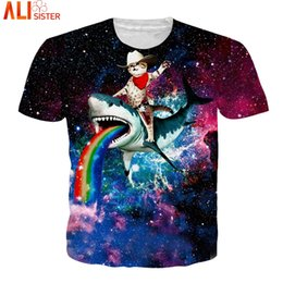 galaxy tees wholesale 2019 - Alisister Galaxy Cat 3d T Shirt EUR Size Animal Funny T-Shirts 2018 Summer Hip Hop Camisa Masculina Women Tee Tops Unise