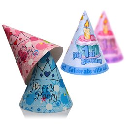 Wholesale Hot Sale set Pink Blue color st Birthday Party Cone Hats First Boy Girl Children Partyware choose