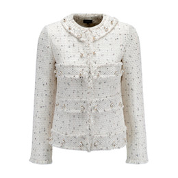 Chinese  Fashion Women's Antumn Winter Outerwear O'Neck Beads Fringe Long Sleeve White Tweed Jackets manufacturers