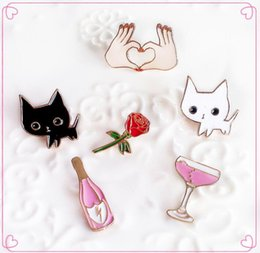 cocktail animals 2019 - Wholesale- yiustar Lovely Animal Cartoon Cat Kitty Cocktail Wine Rose Flower Hand Cute Metal Vintage Brooch Pins Women B
