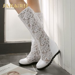 Wholesale SaraIris Women s Breathable Lace Upper High Heel Wedge Shoes Woman Rubber Sole Summer Knee Boots