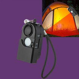 Motion detector ir online shopping - 120dB Camping Alarm PIR Infrared Motion Detector Personal Alarm Keychain LED Light Flashlight Vocation Alarm Security Sensor