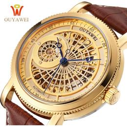 $enCountryForm.capitalKeyWord Australia - OUYAWEI Top Brand Luxury Business Mechanical Watches Men Skeleton Black Brown Leather Strap Mens Gold Watch Automatic Wristwatch