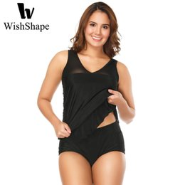 $enCountryForm.capitalKeyWord Canada - Sexy Mesh Swimwear Women Tankini With Shorts Plus Size Swimsuits Push Up Black Bathing Suit Two Piece Swimsuit Tankini Dress