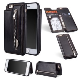 leather flip zipper case NZ - Multi-functional Flip Leather Wallet Chain Back Cover Case Zipper Bracket Holster Pouch Stent Phone Shell Tide Pure Color for iPhone Samsung