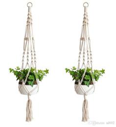 $enCountryForm.capitalKeyWord Canada - Handmade Knitting Flower Pot Plant Hanging Hook Cordage Planter White Bohemia Holder Basket For Home Garden Balcony Decorations 9zd ZZ